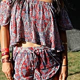 It's never a bad idea to wear drawstring shorts to a music festival serving deep-dish pizza!