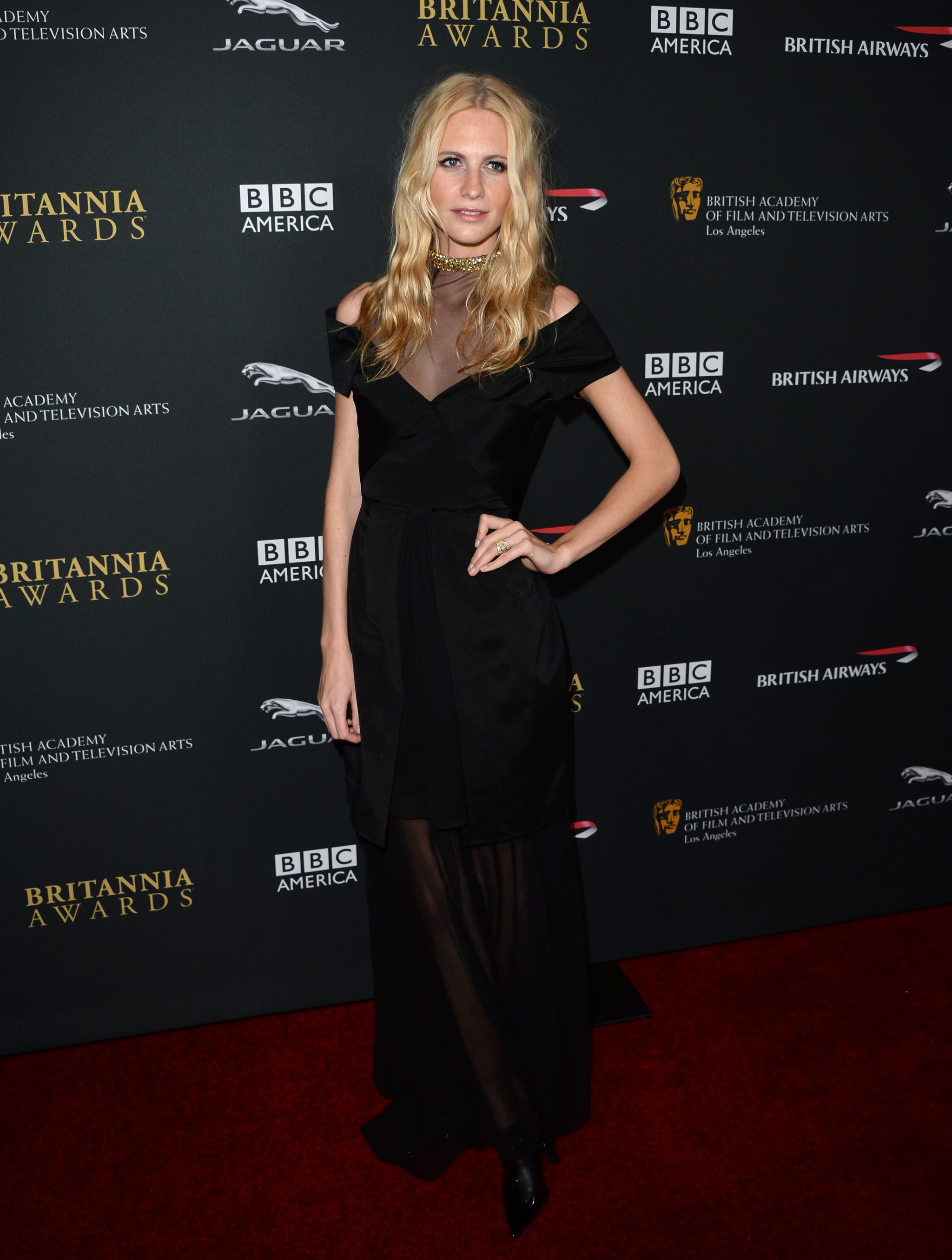 Model Poppy Delevingne attended the BAFTA LA Jaguar Britannia Awards.