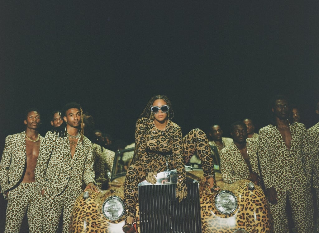 Beyoncé wears a Valentino Haute Couture jacquard needle lace jumpsuit with paillettes and strass embroidery made by creative director Pierpaolo Piccioli.