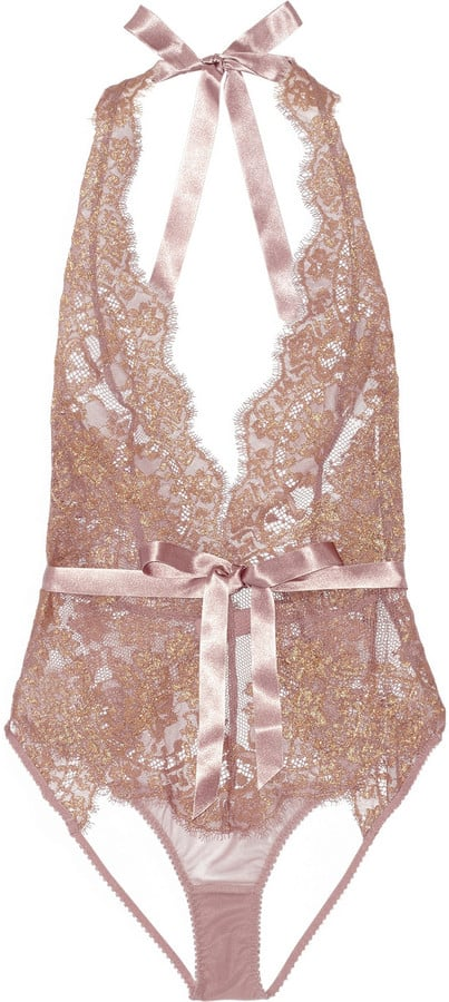 L'Agent by Agent Provocateur Iana Metallic Lace and Stretch-Tulle Bodysuit ($200)