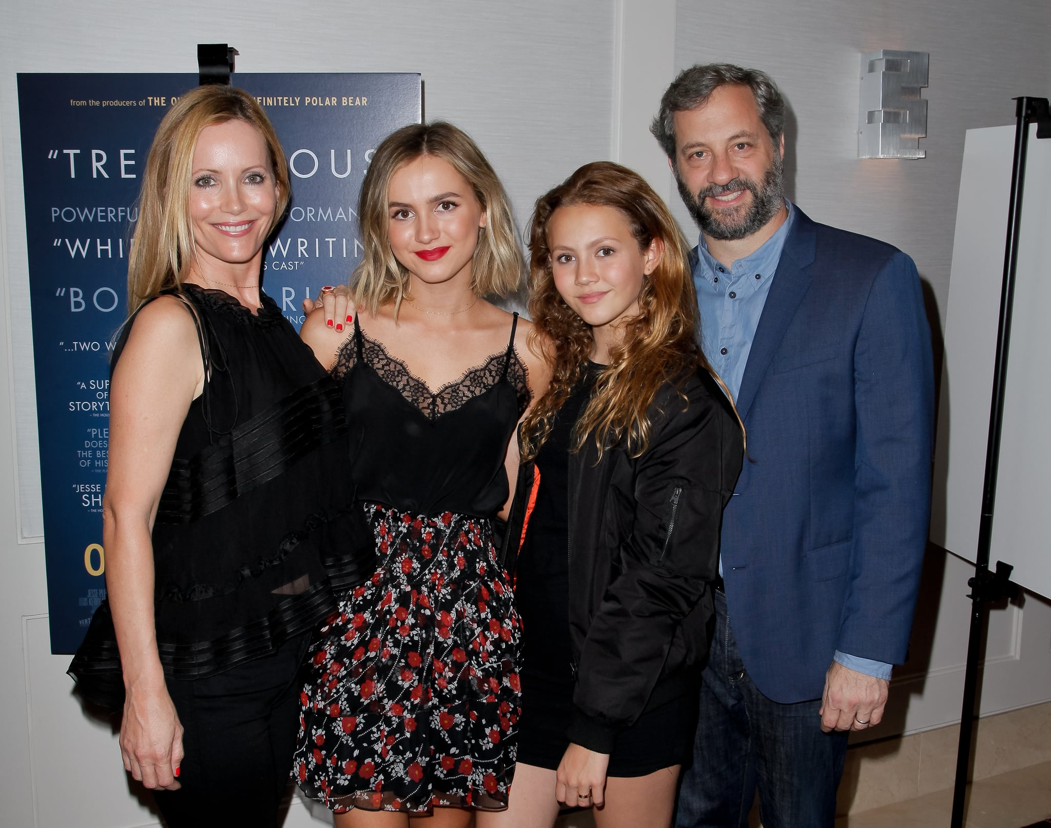 WEST HOLLYWOOD, CA - AUGUST 31:  (L-R) Leslie Mann, Maude Apatow, Iris Apatow and Judd Apatow attend the Premiere of Vertical Entertainment's 'Other People' at The London West Hollywood on August 31, 2016 in West Hollywood, California.  (Photo by Tibrina Hobson/Getty Images)