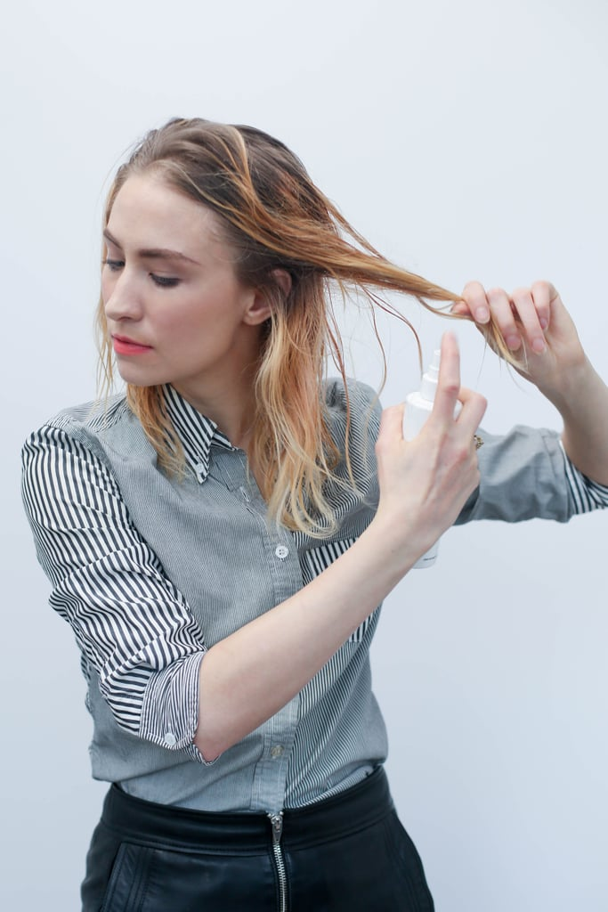 Spray hair generously with Undressed from roots to ends, separating the hair section by section. Because the product creates texture and hold without stickiness, it will allow you to easily put clean hair up without it sliding out of place.