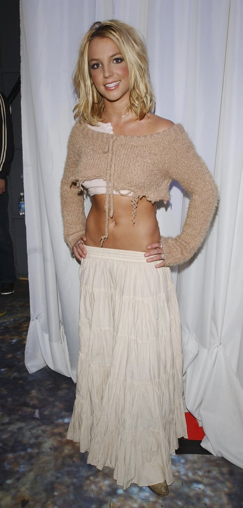 Britney Even Tried Out the Low-Slung Look With a Maxi Skirt at TRL in 2003