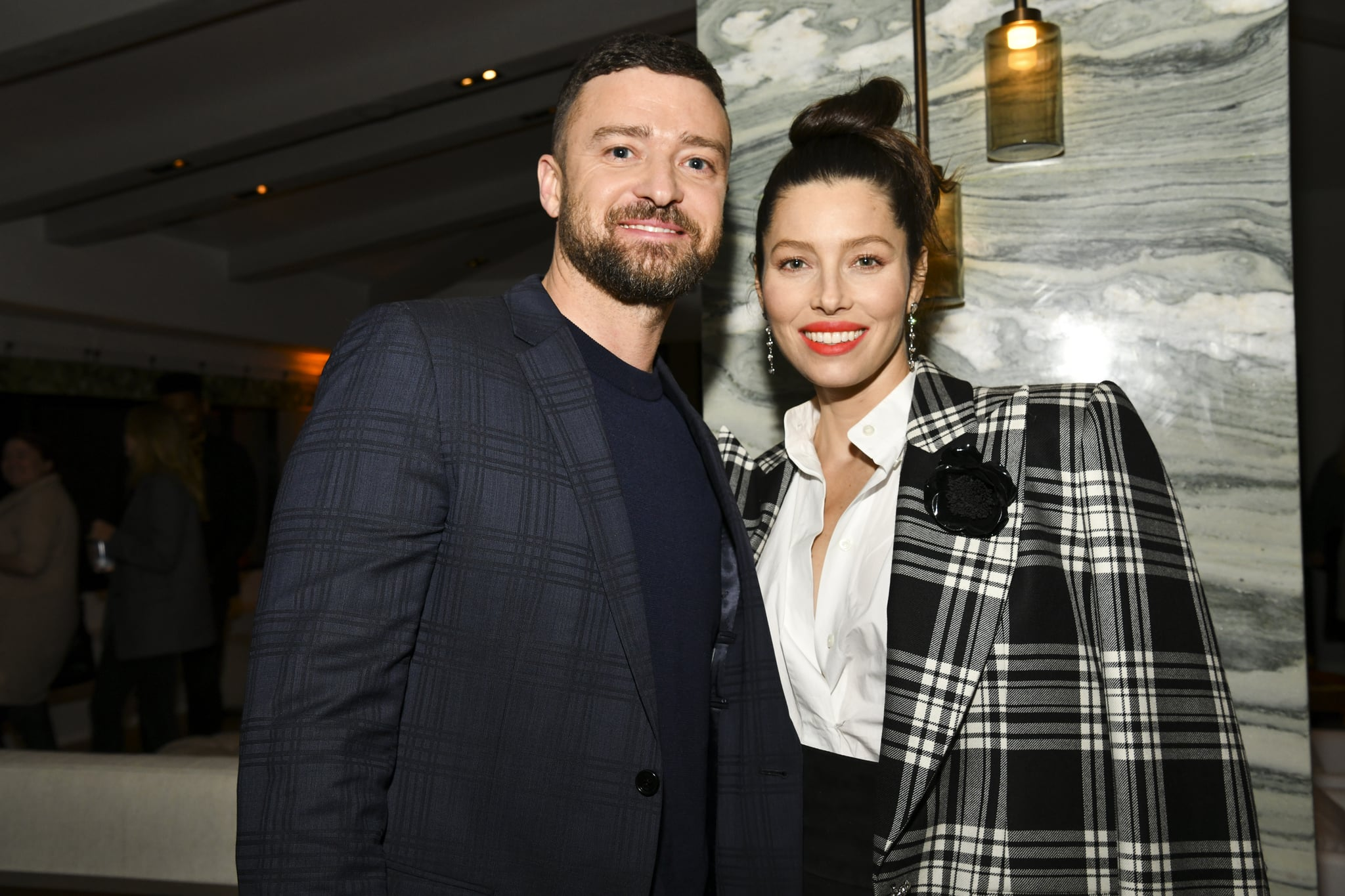 WEST HOLLYWOOD, CALIFORNIA - FEBRUARY 03: (L-R) Justin Timberlake and Jessica Biel pose for portrait at the Premiere of USA Network's