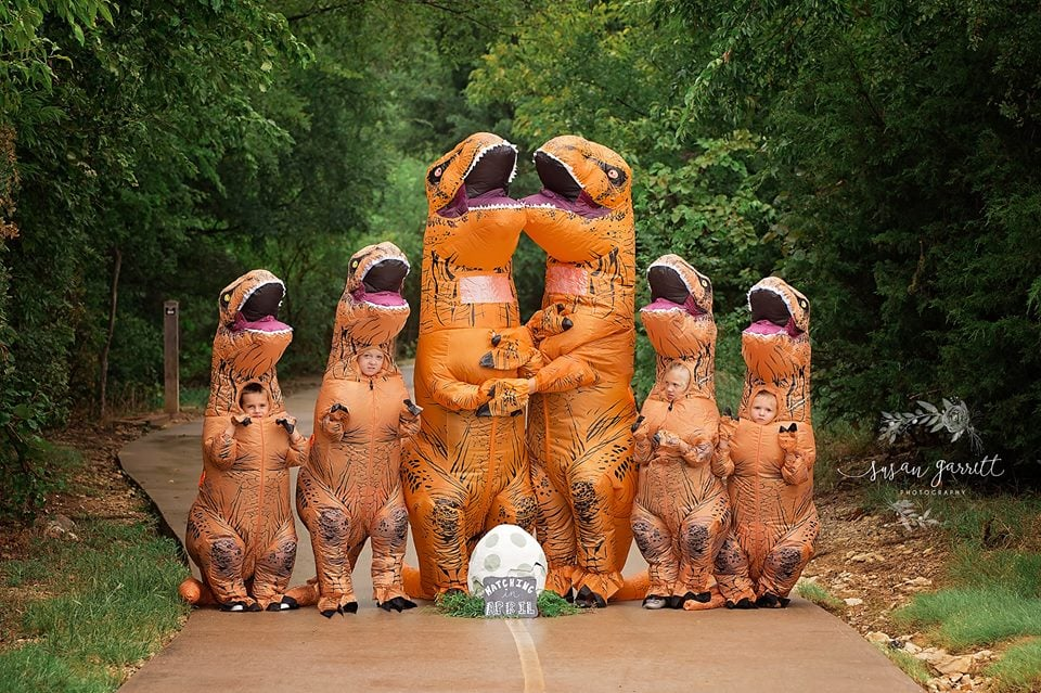 "Nicole Berkley, a mom of four and professional photographer from Texas, knew that she wanted to go big or go home when it came to announcing that she and her husband, Daniel, were expecting their fifth child together. Without further ado, Nicole hired photographer Susan Garrett to take pictures of her family clad in T-rex costumes sharing the big news, and yep, we are roaring with laughter.  ""With this being our fifth child and not our first time announcing a pregnancy, I just really felt kinda past the cutesy, generic pregnancy announcement photos that everyone does nowadays,"" Nicole told POPSUGAR. ""It's so exciting to share that you're expecting a new little one with friends and family, but I just thought to myself 'this is NOT our first rodeo, I want these to be really epic and unique because this could very well be our last baby.'""  ""I just really felt kinda past the cutesy, generic pregnancy announcement photos that everyone does nowadays."" Nicole explained that when she first bubbled up the idea to Daniel nearly a year ago, he wasn't exactly open to the concept. But after having a miscarriage in February, Daniel agreed to the photo shoot when the couple found out they were pregnant again.  ""Since we are big Jurassic World fans and a really quirky and down-to-earth kind of family, it seemed SO fitting! I have a habit of making my crew take lots of pictures and cooperate with my silly ideas,"" explained Nicole. ""I knew eventually they'd come around, and they did in the BEST WAY! When my kids saw the costumes inflated, they thought it was the funniest thing and were totally on board at that point."" As expected, the people who saw their pregnancy announcement completely lost their sh*t.  ""Everyone seems to REALLY love the idea and think it's hysterical,"" said Nicole. ""The reaction we have gotten is totally what I wanted: to make people laugh. I knew people would love it but NEVER expected it to get the attention it has gotten!"" Read through to get a look at this squad's epic photo shoot, and try not to lament over the fact you didn't think of it first.       Related:                                                                                                           24 Anything-but-Typical Pregnancy Announcements"