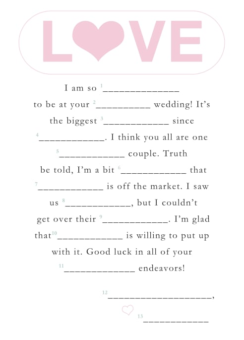 graphic regarding Wedding Mad Libs Printable named Totally free Printable Wedding ceremony Outrageous Libs POPSUGAR Intelligent Residing