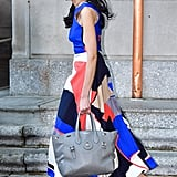 She Smartly Pairs Her Vibrant Prints With a Neutral Ralph Lauren Bag