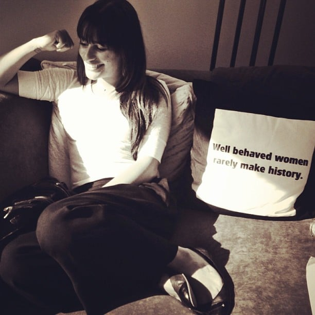 Lea posed near an inspiring throw pillow in June 2013. Source: Instagram user msleamichele