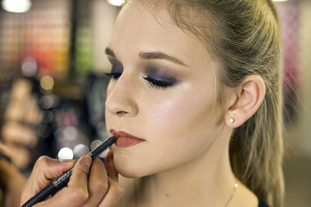To finish off the look, line the lips with Pro Longwear Lip Pencil in Nice N Spicy ($20), drawing a little beyond the lip border to create a fuller effect. Note: if your lips need a little hydration, use a lip balm and blot off the excess with a tissue first.  For a lip color that will enhance your own skin tone, look for a pencil a shade or two darker than your natural lip color.