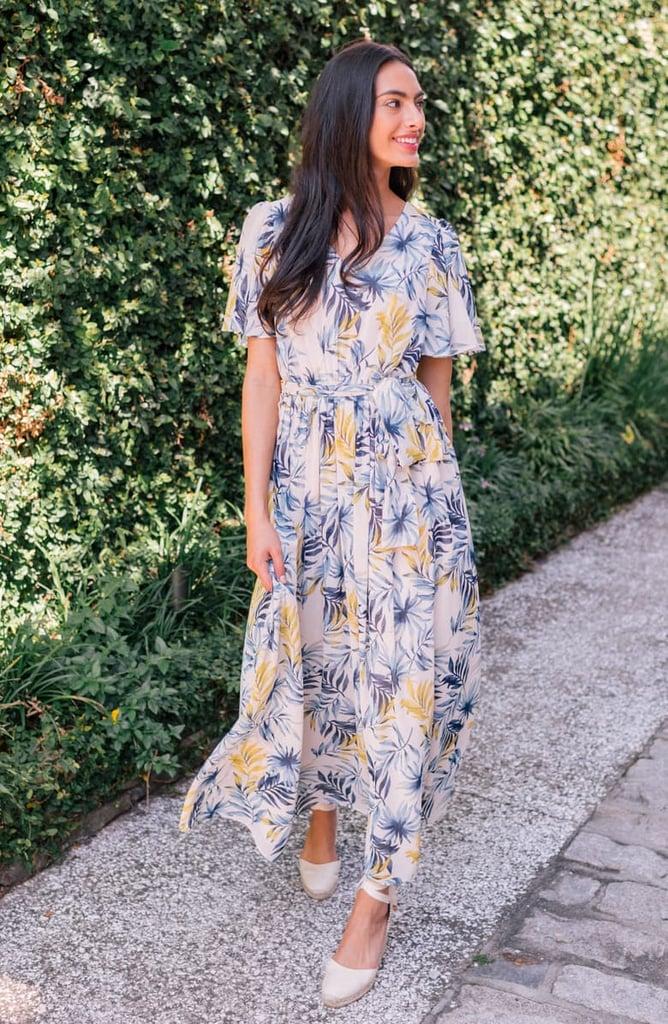 Gal Meets Glam Collection Kiki Leaf Print Chiffon Maxi Dress