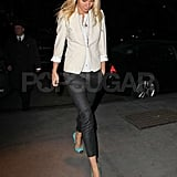 While strutting the streets of NYC, the actress wore an off-white blazer with cropped jeans and cap-toe Giuseppe Zanotti pumps.  Get her NYC look below.