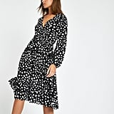 Black Spot Pleated Tea Dress