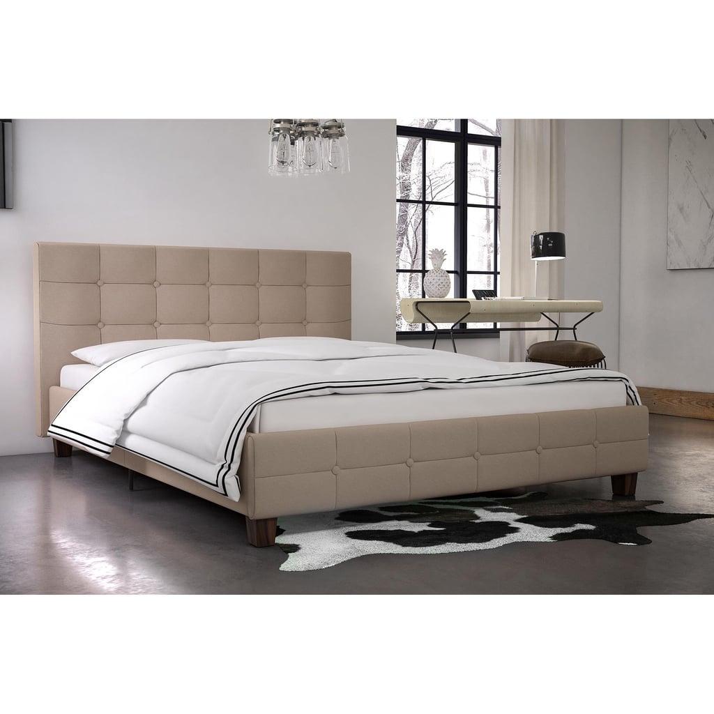 Rose Linen Tufted Upholstered Platform Bed