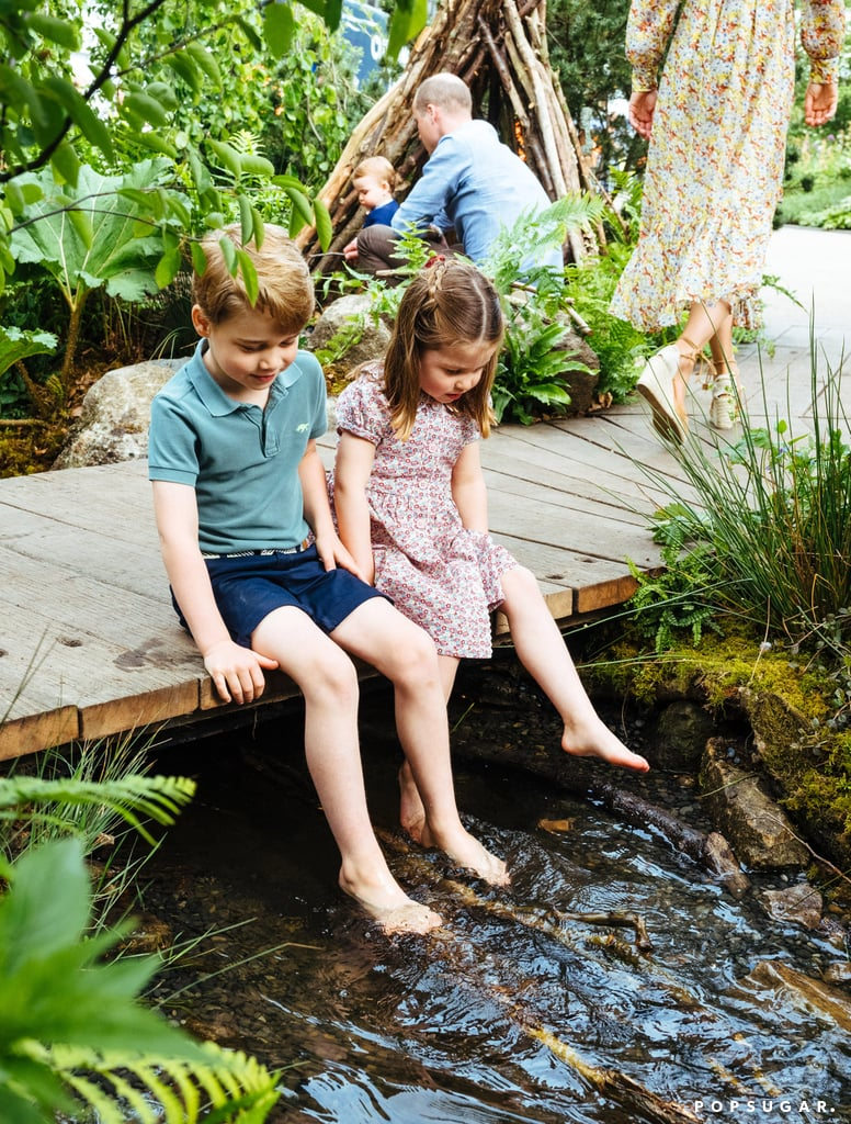 "Looks like the Duchess of Cambridge's Chelsea Flower Show Garden already has a few adventurous (and adorable) fans. The Duchess of Cambridge recently brought Prince William and their children, Prince George, Princess Charlotte, and Prince Louis along to the royal ""Back to Nature"" garden ahead of its grand opening on Tuesday.  In photos shared on May 19, the royal family is seen exploring the garden's stream and rope swing. How sweet! Kate co-designed the garden alongside landscape architects Davies White, with  her passion for the outdoors and her focus on early childhood development in mind. She drew from her own upbringing and the memories she shares with her own children. Keep reading to see all of the family's precious photos below."