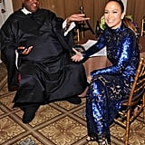 Jennifer Lopez shared a laugh with André Leon Talley.