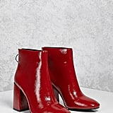 Forever 21 Faux Patent Leather Ankle Boots