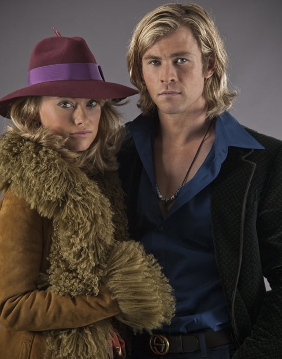 """For her first onscreen moment as Suzy Miller, Wilde (who, along with Hemsworth, is dressed in Gucci throughout) wore one of Day's favorite looks — and rightfully so: """"This is where James Hunt falls in love and realizes he wants to marry this woman."""" Source: Universal Pictures"""