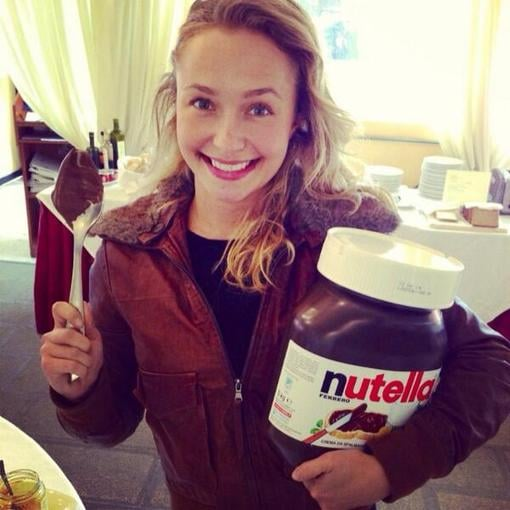 Hayden Panettiere posed with a giant jar of Nutella — where can we get one? Source: Twitter user haydenpanettier