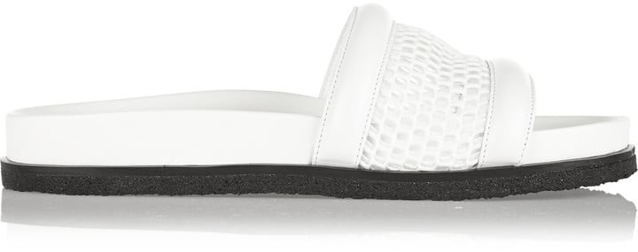 Alexander Wang Jac mesh and leather slides ($425)