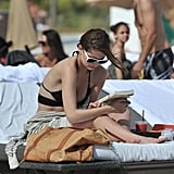 Mischa Barton brought Jennifer Egan's A Visit From the Goon Squad to the beach in Miami in December 2011.