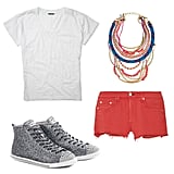 Brighten up your casual shorts-tee combo with eye-catching accessories, like embellished sneakers, and finish off with a vibrant multichain necklace. Get the look:   Club Monaco Aimee Tee ($50)  Assad Mounser Shiprock Gold-Plated Multi-Chain Necklace ($430)  Rag & Bone/JEAN Shorts in Mila Destroyed ($154)  Miu Miu Glitter High-Top Sneakers ($495)