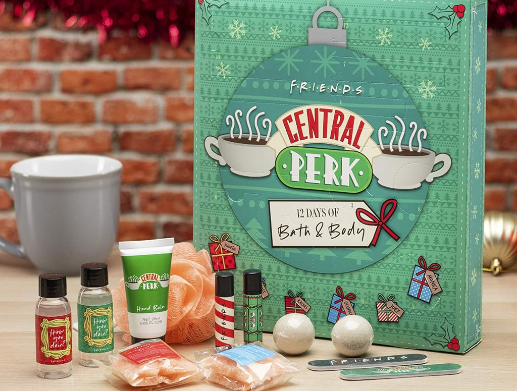 If you're like Chandler Bing, you'd probably agree that an ideal, relaxing bath involves delicious bath salts, soothing candles, fluffy bubbles, the works. Luckily, there's a Friends-themed Advent calendar out there that can help create that perfect bath experience for you (or the Central Perk fan in your life). UK wholesaler Paladone is selling a bath and body Advent calendar on Amazon that's filled with 12 scented bath salts, body washes, bath bombs, and even a loofah. And to top off your spa day, it even includes lip balms, hand cream, and nail files. While there's only about a week until Christmas, this bundle still makes for an adorable gift or stocking stuffer for fans of the iconic sitcom. With scents ranging from golden raspberry to honeysuckle, get ready for a sweet spa day. Take a closer look and shop the fun Advent calendar ahead.
