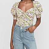 Express Floral Twist Front Puff Sleeve Top