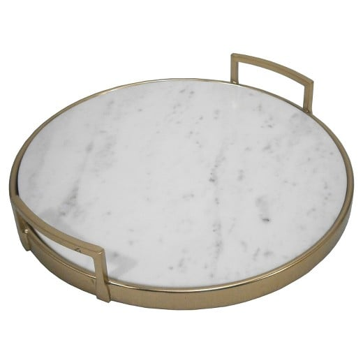 Perfect for hosting or as a mini table.  Threshold Gold and Marble Tray ($35)