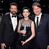 Hugh Jackman, Anne Hathaway, and Tom Hooper