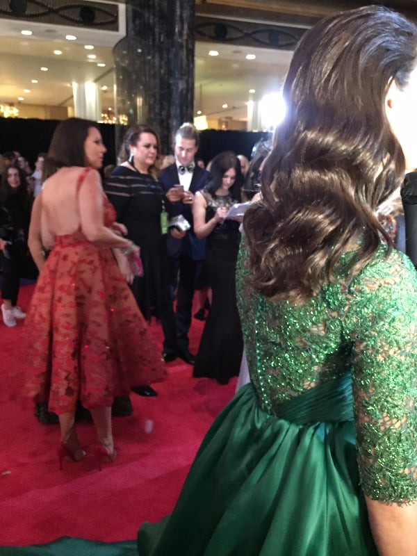 Julia Morris (in the Red) Was the Darling of the Night; Laurina (in the Green) Had Glorious Hair