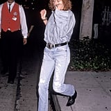 Julia styled bootcut denim with a button-down shirt in this 1991 look that would be just as perfect on the street today.