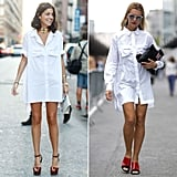 Leandra Medine channeled Risky Business in NYC; Natalie Joos brought the look to Paris.