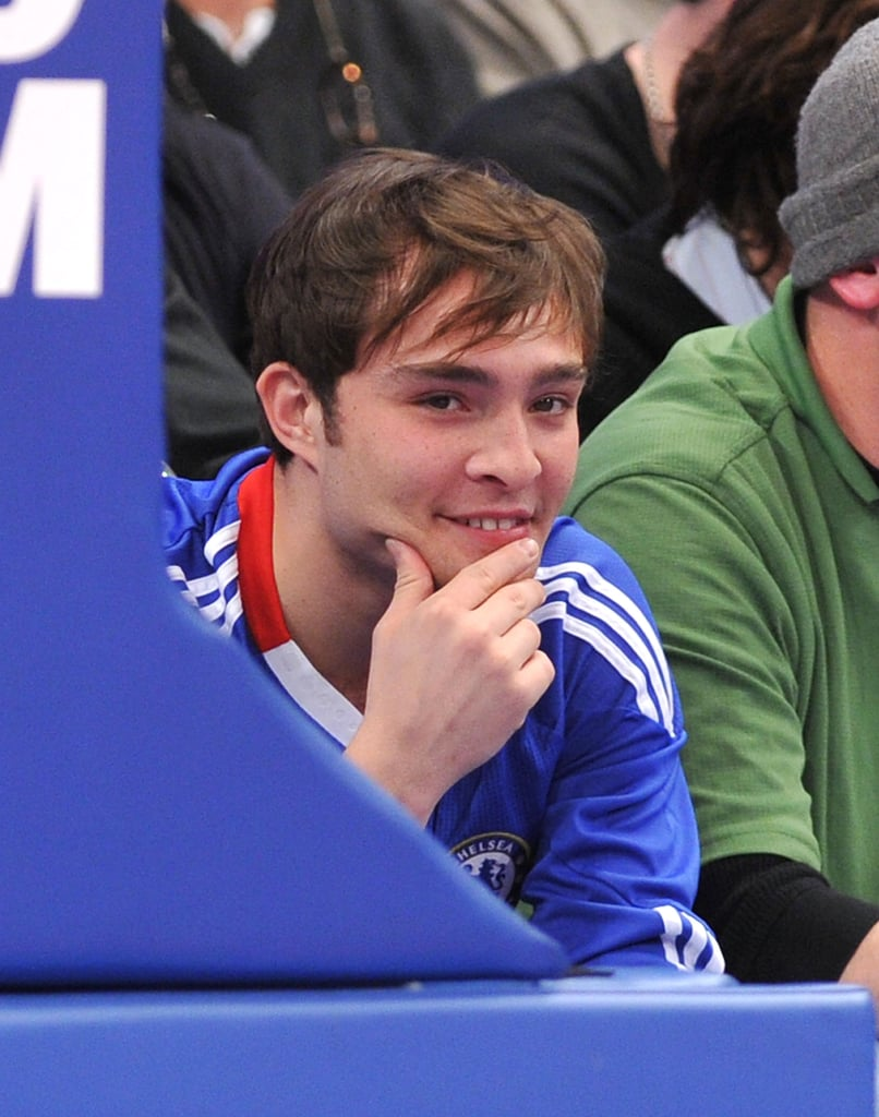 Pictures of Ed Westwick and Jessica Szohr at the NY Knicks Game