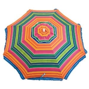 """Rio Brand's Sandblaster Beach Umbrella ($20, originally $29) features patented """"hammer action"""" to make securing it into the sand a breeze."""