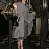Angelina Jolie Grey Scarf April 2016