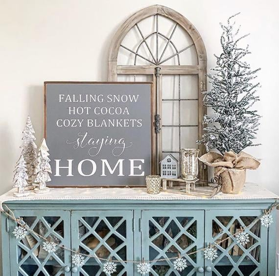 Falling Snow Hot Cocoa Cozy Blankets Staying Home Painted Wood Sign
