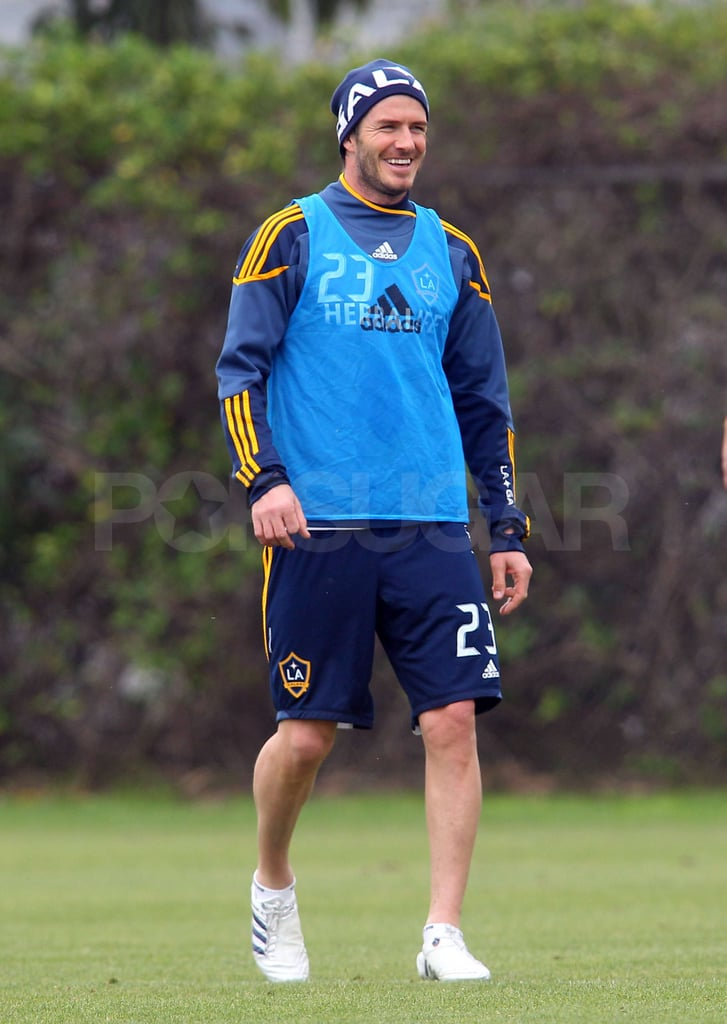 "David Beckham had a huge grin on his face as he trained with LA Galaxy in Carson on Saturday. He announced they're expecting a girl during a press conference with the team on Friday. Victoria Beckham is back home with David and her boys now, after flying from Heathrow to LA over the weekend. The family might be returning to the UK, however, when David's contract ends after this MLS season. He said: ""I had a great career in England for 12-13 years — who knows if I will play there again? I'm getting older now and I don't have many years left. This is my last contract year in the USA, but who knows what will happen."""
