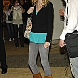 Way Back When, Taylor Wore Gray Denim Tucked Into Fringed Boots