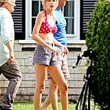 Taylor Swift visited the Kennedy home in Hyannis wearing a bikini.