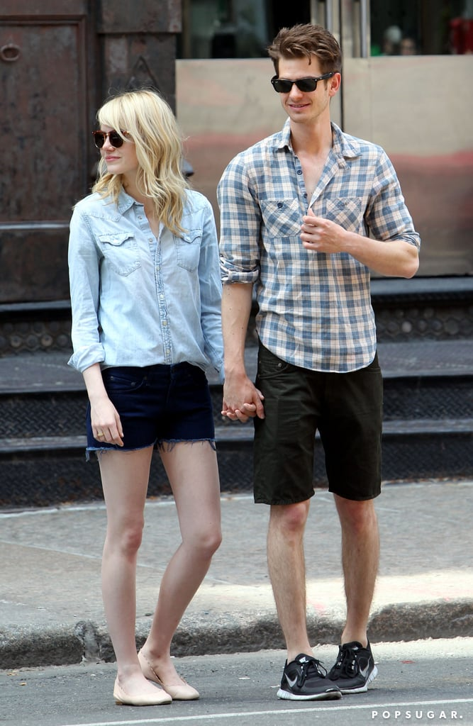 Emma Stone and Andrew Garfield stood hand in hand on an NYC street.