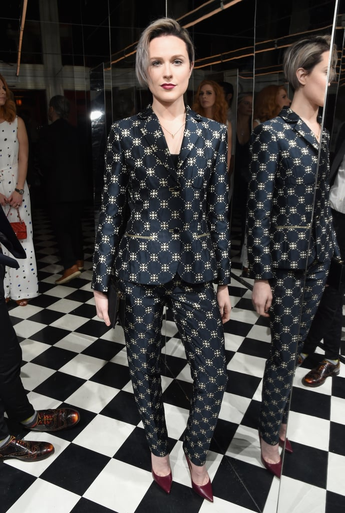 For W Magazine's pre-Golden Globes party, Evan chose a printed suit from Alberta Ferretti's Resort '17 collection.
