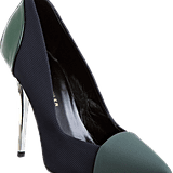 Proenza Schouler's take on the pump is a gorgeous rendition on colorblocking in rich, autumnal emerald green.  Proenza Schouler Combo Pointed Toe Pump ($595)