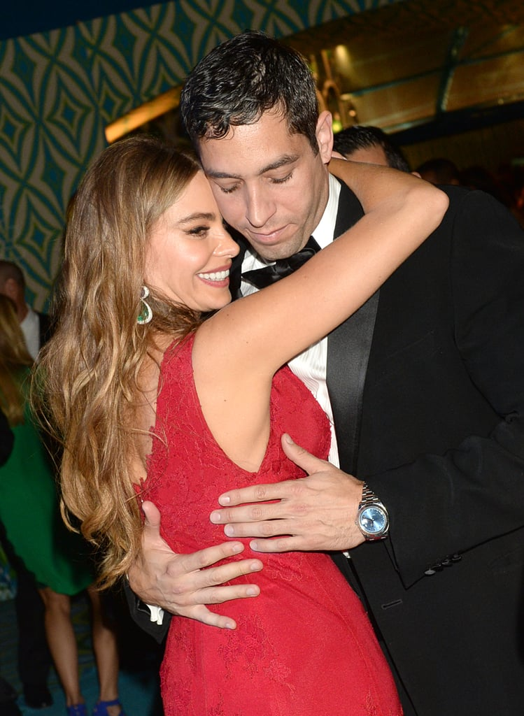 Sofia Vergara hugged Nick Loeb at the 2013 HBO Emmys after party.