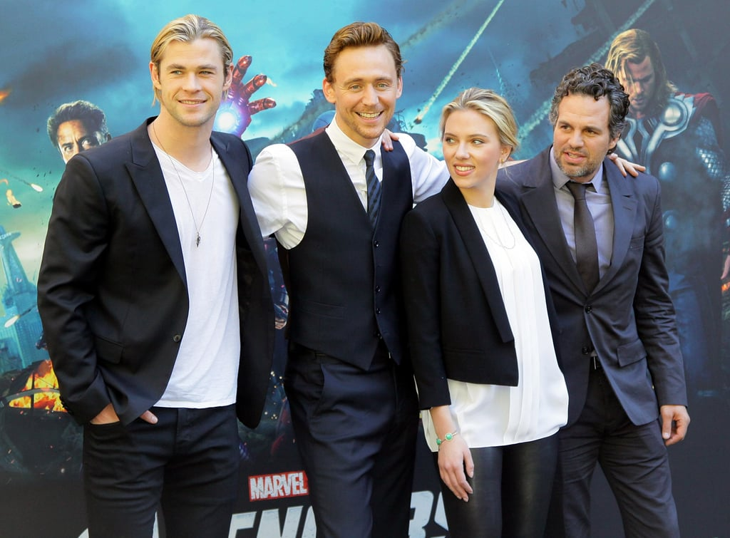 Scarlett Johansson joined Chris Hemsworth, Tom Hiddleston, and Mark Ruffalo for photos.