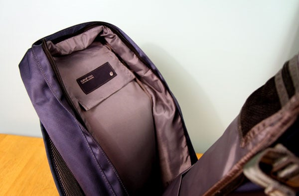 Inside of large compartment, showing velcro pocket