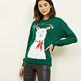 New Look Green Falala Llama Christmas Slogan Jumper