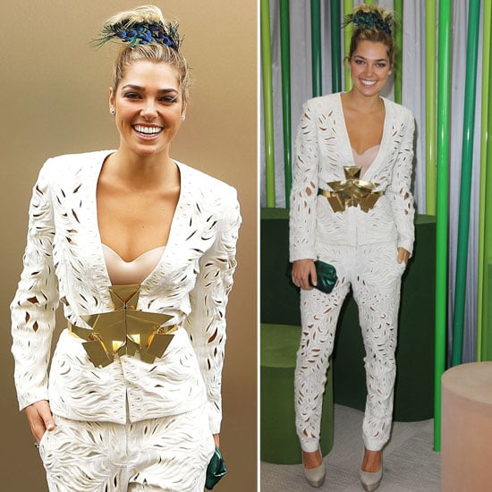 Ashley Hart in White Suit at the 2012 Melbourne Cup