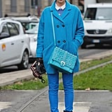 Monochromatic and oh-so cool, a mix of bold blue shades made this look pop.