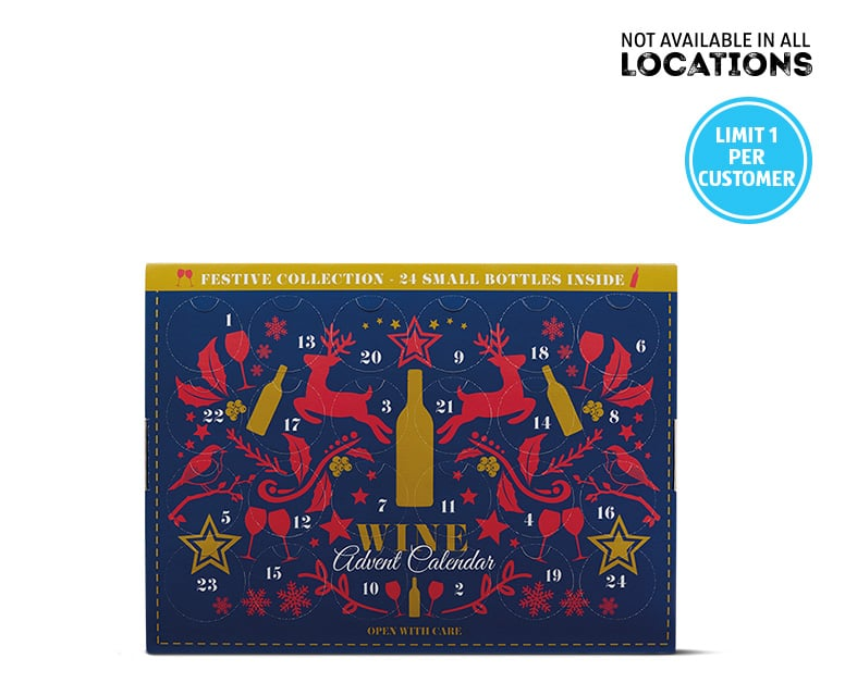 """The front of the box features 24 windows of """"wine joy"""" to pop open."""
