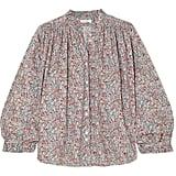 Dôen Rose Gathered Floral-Print Cotton-Poplin Blouse ($145).